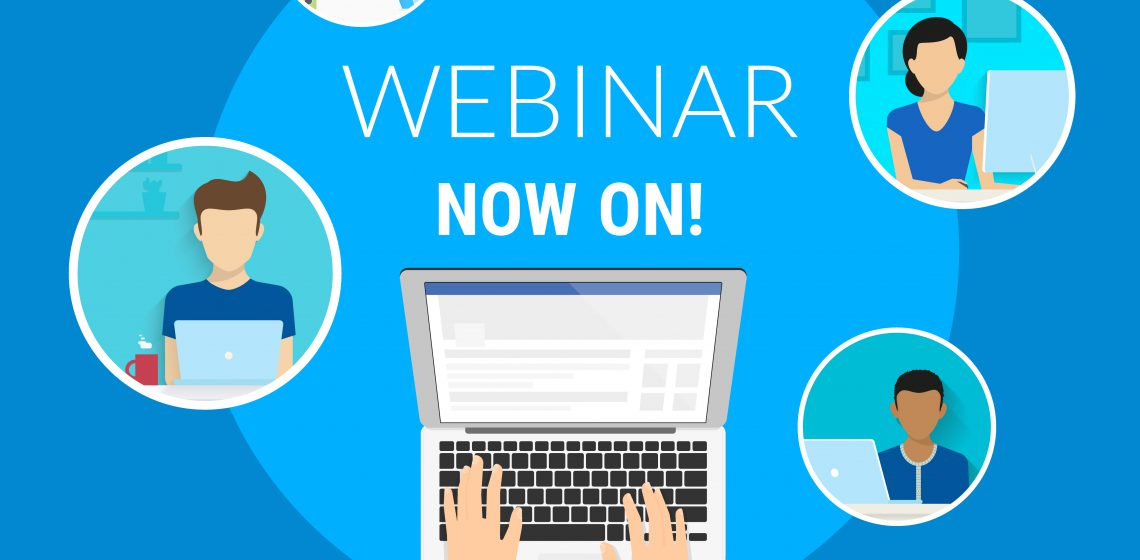 Webinar now on concept illustration of human hands typing on the laptop to unit various people on the free webinar. Flat design of faceless guys and young women participating in free webinar
